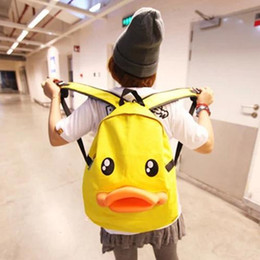 Wholesale Duck Backpacks - Fashion Women Backpack Newest Stylish Canvas Cute Yellow Duck Backpack Female Hot Sale Women Shoulder Bag School Bags