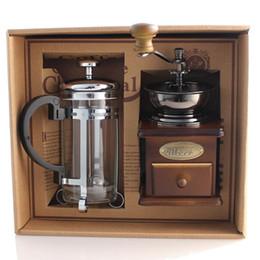 Wholesale Coffee Box Set - Free Shipping !Coffee equipment coffee grinder + coffee pressure pot Manual Bean grinding machine Gift Box 1 set