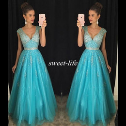 Wholesale Sexy Turquoise Prom Dresses - Turquoise Tulle Prom Dresses Backless Cap Sleeve Sparkly Beading Plunging 2017 Cheap Sexy Long Pageant Party Dress Evening Gowns Custom Made