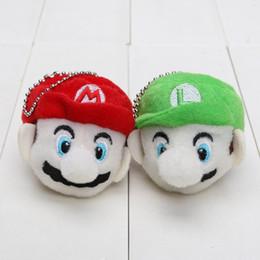 Wholesale Toys Doll Head - 2pcs lot 6cm Super Mario Bros Mario & Luigi head Plush Keychain Plush Toy Soft Stuffed Doll pendant
