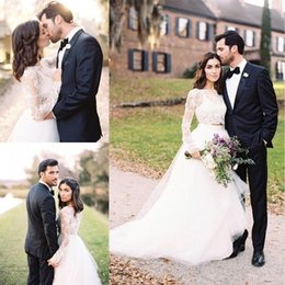 Wholesale Romantic Country Style - Romantic Country Style Two Piece Wedding Dresses A Line 2017 Modest Long Sleeve Lace Appliques Tulle Sweep Train Wedding Bridal Gowns