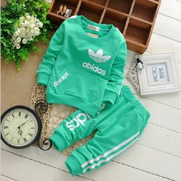 Wholesale Long Sleeve Shirt Trousers - Boys girls clover leaf letters Sports suits NEW children 4 Color Long sleeve T-shirt+trousers 2pcs set suit baby clothes