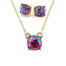 Wholesale Glitter Studs - Hot Sale Kate Style Opal Glitter Studs Necklace Gold Rainbow Square Glitter Stud Earrings Necklace Set New York Women Fashion Jewelry