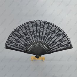 Wholesale Fancy Folding - 30pcs Spanish Victorian Vintage Hand Fan for Wedding Party Favor Fancy Dress Black Japanese Folding Pocket Fan Dancing Props Free shipping