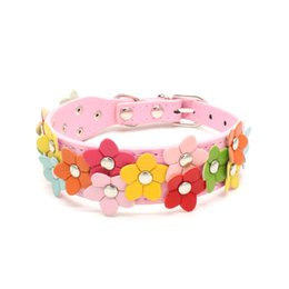 Wholesale Wholesale Pu Leather Dog Collars - Hot Double Floret Puppy Collar PU Leather Pet Dog Collar Cat Buckle Flower Designer Sweet Neck Strap Pet Supply Drop Shipping