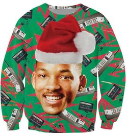 Wholesale Fresh Hats - Wholesale free shipping 3D Pull Fashion Fresh Prince Christmas Crewneck Sweatshirt Will Smith With Christmas hat Sweats Pullover Tops Women