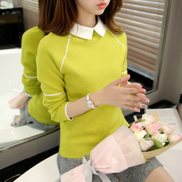 Wholesale Office Works Computers - Wholesale- Women Sweater 2016 New Fashion Casual Spring Autumn Women Solid Color Lapels Work Office Pullover Slim Knitted Sweaters