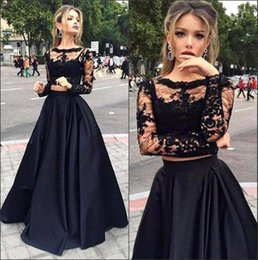 Wholesale Cheap Sexy Long Sleeve Tops - 2017 Black Cheap Cutom Made Two Pieces Prom Dresses Only $69 Sheer Long Sleeves Lace Top Satin A line Floor Length Evening Dresses