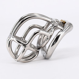 """Wholesale Male Stainless Steel Curved - New design Chastity Cage Real Stainless Steel Male Chastity Device 2.1"""" Curve Cock Cage with Arc Base Activities Lock Ring"""