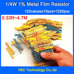 resistor packs Coupons - Wholesale-1 4W 0.25W 122valuesX10pcs=1220pcs Metal Film 1% Resistor Kit Resistor Pack for DIY Free Shipping