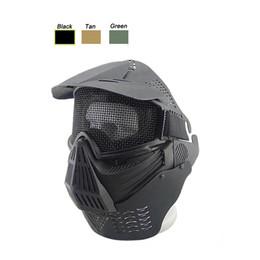 Canada Masque de masque tactique Airsoft plein visage en acier avec treillis métallique en acier de protection du visage de tir avec le déflecteur de cou cheap airsoft full mesh mask Offre