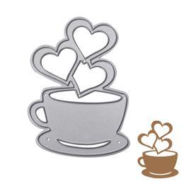 Wholesale Paper Heart Crafts - Heart Coffee Cutting Dies Stencils Scrapbook Album Paper Card Embossing Craft -Y102
