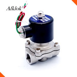 Wholesale Water Solenoid Valve 12v - 2W-250-25B 2 way stainless steel water control valves normally closed 1 inch water solenoid valve 12v 24v dc