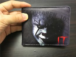 Wholesale Fashion Movie Photos - New movie IT Pennywise Clown Stephen King 1990 2017 Horror Movie Fashion Cartoon Pattern Printing Comics Wallet Young Men Boys PVC Money Ba