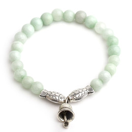 Wholesale White Jade Antique - Natural Stone Charms Beads Bracelet For Women Antique Silver Fish Bell Charm Imitation Jade Bracelets & Bangles Love Jewelry 6