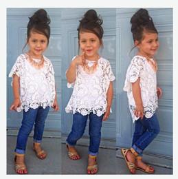 Wholesale Set T Shirt Tank Top - Girls sets fashion kids lace floral embroidery hollow T-shirt+tank top+ denim pants 3 pc clothing sets 2017 children princess outfits T3219