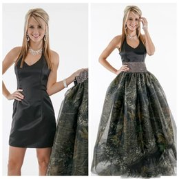Wholesale Red Satin Overlay - Halter A Line Black Prom Dress With Detachable Camo Skirt Black Tulle Overlay Ladies Camouflage Satin Vestidos De Soiree