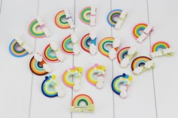 Wholesale Wholesale Kawaii Cabochons - NEW ARRIVAL 12 colors Kawaii Spiral Rainbow hairpin Candy Polymer Clay Cabochons hair bow Flatback For DIY Accessories.36pcss\