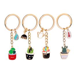 Wholesale cactus pendant - Fashion Pot Plant Cactus Keychains Metal Keychain Keyring Car Keychains Handbag Pendant Charms Gift