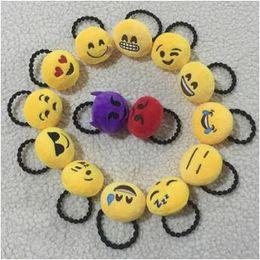 Wholesale Tie Pin Clasps - Emoji Hair Rope Hair Band Yellow Cute QQ Emotion Hairband Tie Ring Pin Hairpin Girl Women Hair Clasp Stick Xmas Gift CCA6758 120pcs