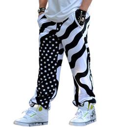 Wholesale Punk Rock Pants Trousers - Wholesale- Mens stripped and star hip-hop rock cotton punk baggy pants streetwear dance trousers loose joggers
