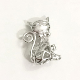 Wholesale Cat Locket - 925 Sterling Silver Cat Locket Cage Pendant Fitting, DIY Pearl Gem Bead Pendant Necklace Finding Lovely Charm