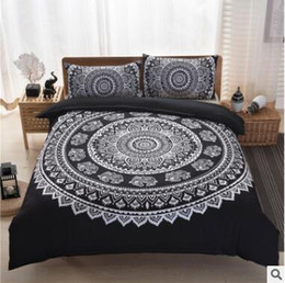 Wholesale Quilt Pillow Cases - Bohemia Bedding Sets 2017 New King Size Peacocks Elephant Printed Bedding Sets Geometric Quilt Cover Pillow Case Pillow Slip Sets 36