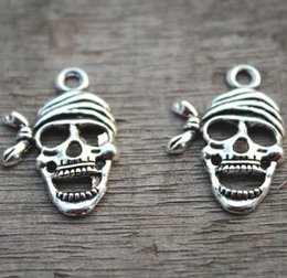 Wholesale Silver Skull Charms - 20pcs--Skull Charms, Antique Tibetan Silver Pirate skull charm pendants 28x20mm