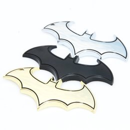 Wholesale Car Motorcycle Decals Sticker - 3D Cool Metal bat auto logo car styling car stickers metal batman badge emblem tail decal motorcycle car accessories
