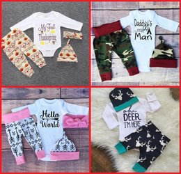 Wholesale Hair Piece Hats - 70-80-90-100CM baby cotton suit beautiful hair bands hats boys and girls cartoon spring & autumn clothes kids jeans 4set A43