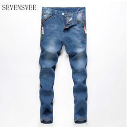 Wholesale Vintage Mens Plaid Pants - Wholesale- 2017 Fashion Vintage Mens Ripped Jeans Pants Slim Fit Distressed Hip Hop Denim Joggers Male Novelty Streetwear Jean Trousers