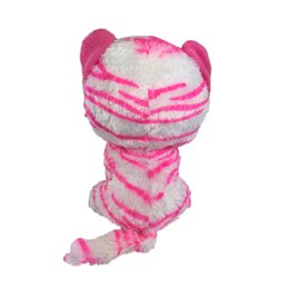 Bambole di peluche grandi occhi online-Original Ty Beanie Boos Big Eyes Peluche Bambola rosa Leopard