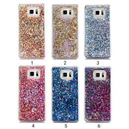 Wholesale Abs Plastic Mobile Phone Case - New Arrival Paillette TPU soft tringle Quicksand Case For Samsung Galaxy Note 5 Fundas Luxury Colorful Plastic Hard Mobile Phone Cases Cover