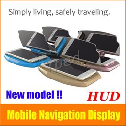 Wholesale phone holder head - Universal Mobile Phone GPS Navigation HUD Bracket Head Up Display For Smart Phone Car Stand Folding Holder Free Shipping
