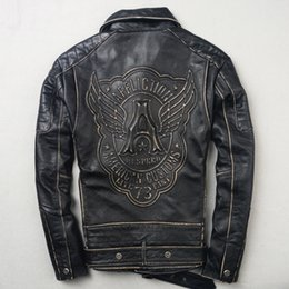 Wholesale Genuine Leather Outwears - AFFLICTION Men's motorcycle leather jacket AMERICAN Soft genuine leather with Frayed men's Outwear coats lapel zipper HI SPEED wings
