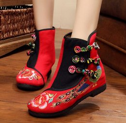 Wholesale Chinese Boots Flowers - New Autumn winter Embroidery Canvas Boots Chinese Style Retro Ethnic Floral Embroidered Boot For Teenage Girls