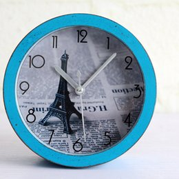 Wholesale Alarm Number - Wholesale-French Vintage Antique Style Eiffel Tower Desk Clock Roman Numbers Table Alarm Clock Home Decoration Silent Clock For Studyroom
