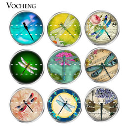 Wholesale Dragonfly Charms Jewelry - NOOSA Ginger Snap Button Jewelry Colorful Dragonfly Series Glass Snap Charms 18mm Mixed 20pcs lot Wholesale VOCHENG Vn-1813