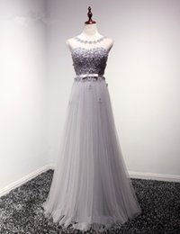 Wholesale Sexy Prom Party Grown - Elegant Appliques Beaded Grey Evening Dresses 2017 A-Line Organza O-Neck Cap Sleeve Party Evening Grown vestido de festa