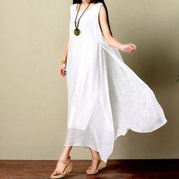 Wholesale vintage ankle length white dress - Summer Womens Dresses Sleeveless White Beach Dress Linen Plus Size Dress Mori Girl Loose Cotton Linen Vintage Dress