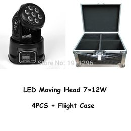 Wholesale Stage Lighting Cases - Flight Case With 4 pieces LED Moving Head Mini Wash 7x12w RGBW Quad With Advanced 14 channels LED effect stage light