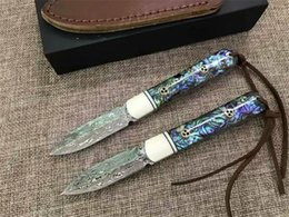 Wholesale Top Quality Knife Damascus - Top Quality Pure Handmade Damascus Tea Knife 59HRC Abalone shell Handle Fixed Blade Knife with Leather Sheath and Gift box Package