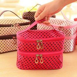 Wholesale Cheap Cosmetic Boxes - New Arrival dot cosmetic makeup bags cases boxes cheap Womens Makeup bags large capacity portable storage travel make up bags cases