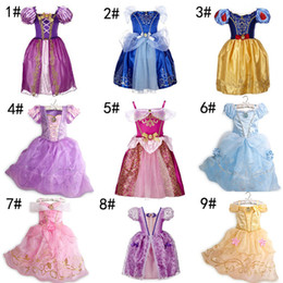 Wholesale Short Dress Sleeping - 9 Styles Baby Princess Dress Girl Purple Rapunzel Dress Sleeping Beauty Princess Aurora Flare Sleeve Dress for party birthday Free Shipping