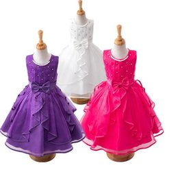 Wholesale Little Girls Elegant Dresses - Little Girls Princess Dress Pearl Collar Bowknot Knee Dress Kids Fashion Ruffles Birthday Wedding Prom Rhinestone Elegant Dress