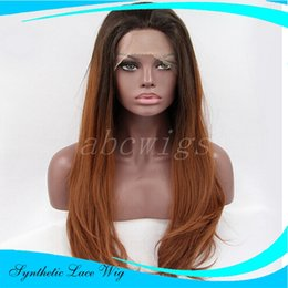 Wholesale Two Tone Cheap Lace Fronts - ombre wigs Free Shipping high quality heat resistant cheap long two tone black to blond mixed ombre wavy glueless synthetic lace front wig