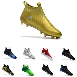 Wholesale Slip Spiked Shoes Men - Slip On ACE 17+ PureControl FG Football Boots Black Gold Outdoor football soccer shoes Paul Pogba Capsule Big Boy Soccer Cleats size 39-45
