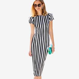 Wholesale Ladies Office Dress Skirt - New Striped Bodycon Dress Round Neck Short Sleeve Sheath Dress Ladies Pencil Skirt Ladies Office Work Dresses ZSJG1104