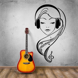 Wholesale Music Vinyl Wall Art - Hot Selling Sexy Girl Vinyl Wall Beautiful Girl in Headphones Music Lover Bedroom Mural Wall Sticker Removeable Home Decor