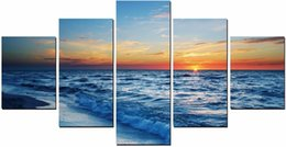 Wholesale White Beach Painting - 5 Pieces Dawn, the beach, the sky, white clouds Prints Realistic Oil Painting Printed(No Frame)